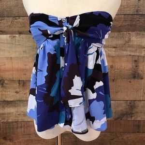 Free People Blue Strapless Tie Front Top XS